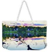Sunset On Kenoza Lake Haverhill Ma Reflection Weekender Tote Bag