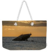 Sunset On The Wreck Of The Concrete Ship Atlantus Weekender Tote Bag