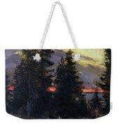 Sunset Over A Winter Landscape Weekender Tote Bag by Abram Efimovich Arkhipov