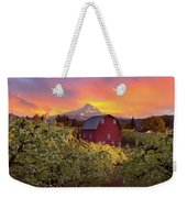 Sunset Over Mt Hood And Red Barn Weekender Tote Bag