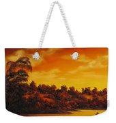 Sunset Over River Weekender Tote Bag