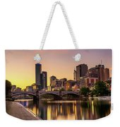 Sunset Over Skyscrapers Of Melbourne Downtown And Princes Bridge Weekender Tote Bag