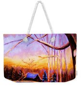 Sunset Over The Hockey Game Weekender Tote Bag