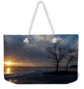Sunset Over The Mississippi In Wisconsin Weekender Tote Bag