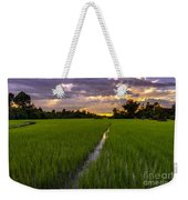 Sunset Rice Fields In Cambodia Weekender Tote Bag