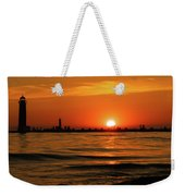 Sunset Silhouettes At Grand Haven Michigan Weekender Tote Bag