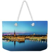 Sunset To Blue Hour Panorama Over Gamla Stan In Stockholm Weekender Tote Bag