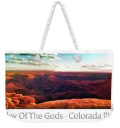 Sunset Tour Valley Of The Gods Utah Pan 09 Text Weekender Tote Bag