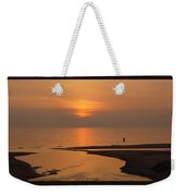 Sunset While Fishing At River Mouth And Lake Michigan Weekender Tote Bag