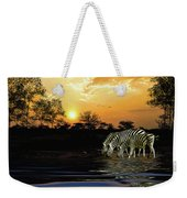 Sunset Zebras At The Watering Hole Weekender Tote Bag