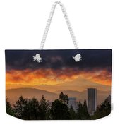 Sunsrise Over City Of Portland And Mount Hood Weekender Tote Bag