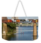 Sup Stand Up Paddle Board Couple Row Under The Focus One Point And Breathe Weekender Tote Bag