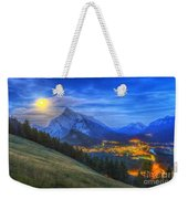 Supermoon Rising Over Mount Rundle Weekender Tote Bag