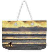 Surfer Heads Into The Waves And Mist Weekender Tote Bag