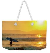 Surfer In The Golden Ocean Weekender Tote Bag