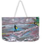 Surfer On A Foggy Day Weekender Tote Bag