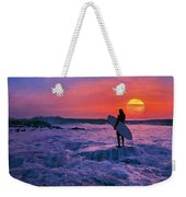 Surfer On Rock Looking Out From Blowing Rocks Preserve On Jupiter Island Weekender Tote Bag
