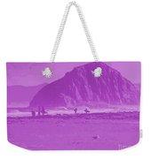 Surfers On Morro Rock Beach In Purple Weekender Tote Bag