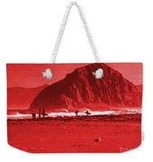 Surfers On Morro Rock Beach In Red Weekender Tote Bag