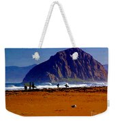 Surfers On Morro Rock Beach Weekender Tote Bag