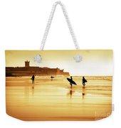 Surfers Silhouettes Weekender Tote Bag by Carlos Caetano