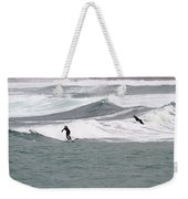 Surfing At Sennen Cove Cornwall Weekender Tote Bag