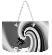 Surfing The Pacific In Black And White Weekender Tote Bag
