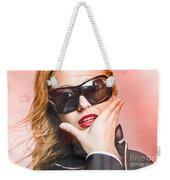 Surprised Young Woman Wearing Fashion Sunglasses Weekender Tote Bag