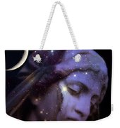 Surreal Celestial Angelic Face With Stars And Moon - Purple Moon Celestial Angel  Weekender Tote Bag