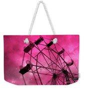 Surreal Fantasy Dark Pink Ferris Wheel Carnival Ride Starry Night - Pink Ferris Wheel Home Decor Weekender Tote Bag
