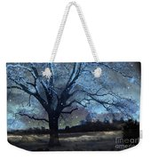 Surreal Fantasy Fairytale Blue Starry Trees Landscape - Fantasy Nature Trees Starlit Night Wall Art Weekender Tote Bag