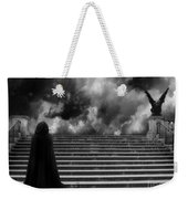 Surreal Gothic Infrared Black Caped Figure With Gargoyle On Paris Steps Weekender Tote Bag