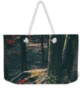 Surreal Red Leaves In A Dark Forest Finland Weekender Tote Bag