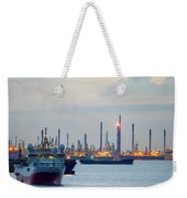 Survey And Cargo Ships Off The Coast Of Singapore Petroleum Refi Weekender Tote Bag