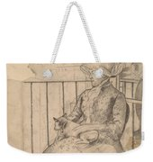 Susan On A Balcony Holding A Dog [recto] Weekender Tote Bag