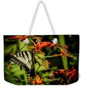 Swallowtail Hanging On The Crocosmia Weekender Tote Bag