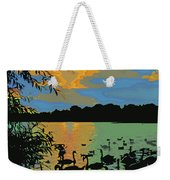 Swans At Sunset Weekender Tote Bag