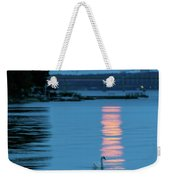 Swans Gliding Into The Moonlight During A Moonrise In Stockholm Weekender Tote Bag