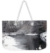 Swans In The Snow Weekender Tote Bag by Gary Eason