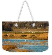 Swans Returning To The Roost At Riverlands 7r2_dsc3855_12202017 Weekender Tote Bag