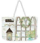 Sweet Life Farmhouse 3 Gothic Window Lantern Floral Shiplap Wood Weekender Tote Bag