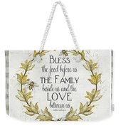 Sweet Life Farmhouse 4 Laurel Leaf Wreath Bee Bless This Food Weekender Tote Bag