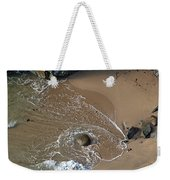 Swirling Surf And Rocks Weekender Tote Bag by Charlene Mitchell
