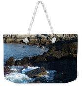 Swirling Waves At Portland Head Light, Cape Elizabeth Me #30107 Weekender Tote Bag by John Bald