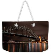 Sydney Harbor At Night With Train Weekender Tote Bag