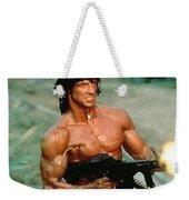 Sylvester Stallone And Browning Machine Gun Rambo 1985 Weekender Tote Bag