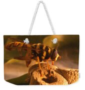 Syrphid Fly On Fossil Crinoid Weekender Tote Bag