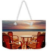 Table For Four At The Beach At Sunset Weekender Tote Bag