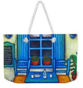 Table For Two In Greece Weekender Tote Bag by Lisa  Lorenz