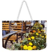 Tables And Chairs With Flowers Weekender Tote Bag